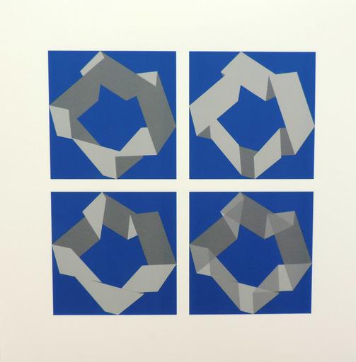 Véra MOLNAR - Estampe-Multiple - 3 pliages 4 façons D Nr. 1