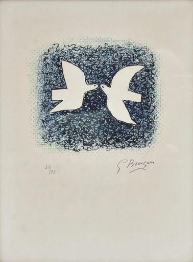Georges BRAQUE - Grabado - Couple d'oiseaux