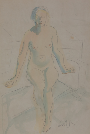 Leon UNDERWOOD - Drawing-Watercolor - Seated Nude
