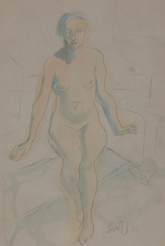 Leon UNDERWOOD - Disegno Acquarello - Seated Nude
