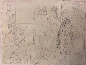 Pablo PICASSO - Estampe-Multiple - Las tres mujeres y el torero