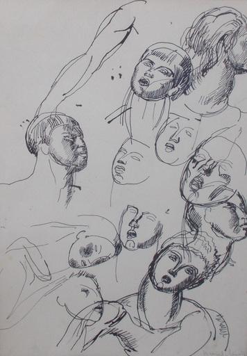 MARCEL-LENOIR - Dibujo Acuarela - Etude de tetes