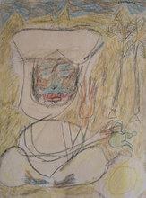 Jean DUBUFFET - Drawing-Watercolor - Le verseur de thé, Original Crayon drawing by Jean Dubuffet