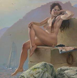 """Bruno SCHMELTZ - Painting - Grand nue, """"Océane"""""""
