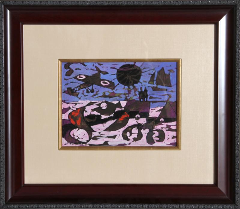 Claude VENARD - Pintura - Le Ciel rouge violace