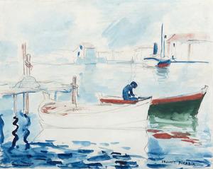 Francis PICABIA - Drawing-Watercolor - Le port de Saint Raphaël