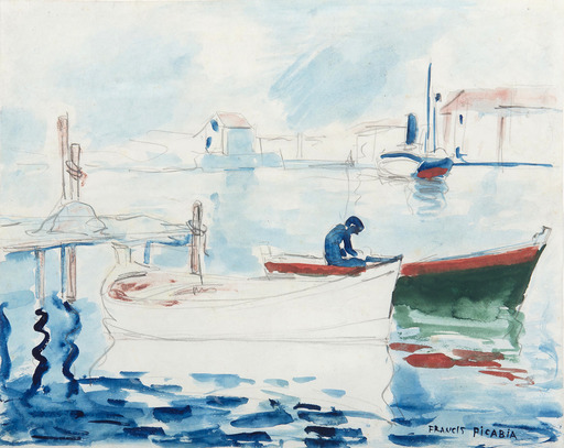 Francis PICABIA - Drawing-Watercolor - Le port de Saint Raphaël