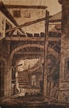 Jean Antoine CONSTANTIN D'AIX - Drawing-Watercolor -  Intérieur de ferme en Italie