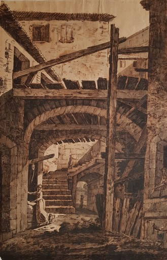 Jean Antoine CONSTANTIN D'AIX - Dibujo Acuarela -  Intérieur de ferme en Italie