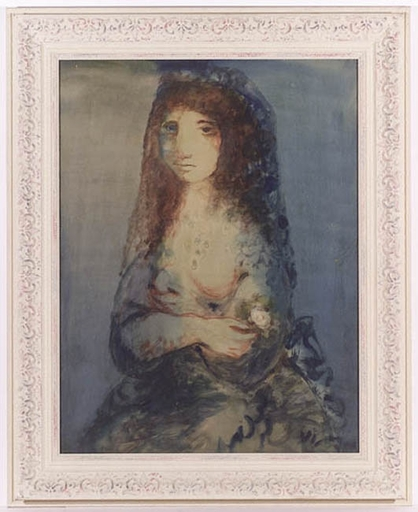 "Sylvain VIGNY - Pittura - ""Young Woman with Rose: Hommage to Goya"" , 20th Century"