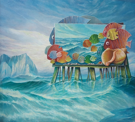 Avi BELAISH - Painting - Landscape- Fishes on the pier