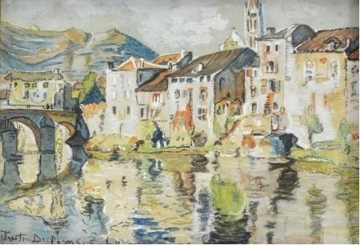 Preston DICKINSON - Drawing-Watercolor - Riverside on the Bidassoa – Basque region
