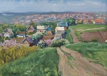 "Victor GAIDUK - Peinture - ""Ukrainian Village"", Oil Painting by Viktor Gaiduk, 1961"