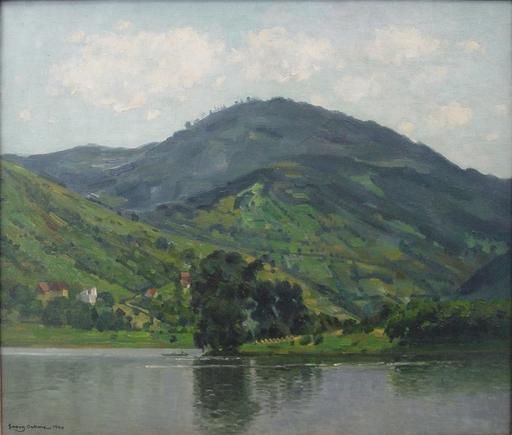 Georg Egmont OEHME - Pittura - Flusslandschaft