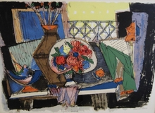 Marcel JANCO - Print-Multiple - Still Life with Flowers (Table Fleuri)