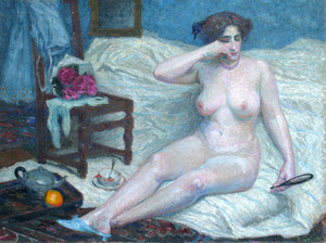 "Roger GRILLON - Painting - ""Le fard"" Nu -  Nude - Femme"