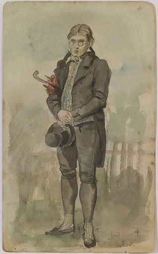 "Carl FRÖSCHL - Dibujo Acuarela - ""Village Dandy"", Watercolor, late 19th Century"