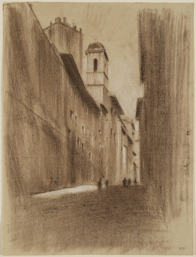 Adolf HIREMY-HIRSCHL - Drawing-Watercolor - Gasse Salita del Grillo in Rom