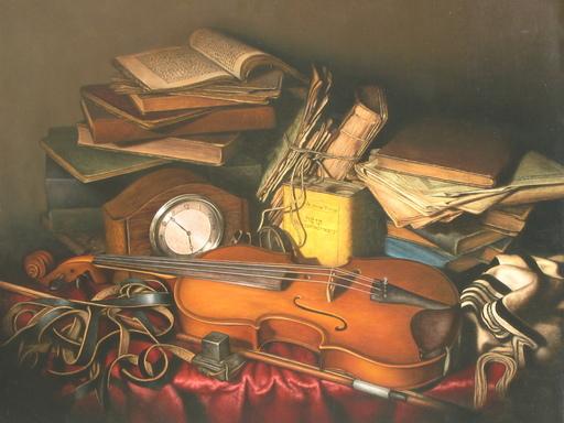 Albert BENAROYA - Pittura - The Rabbi's Study with Violin