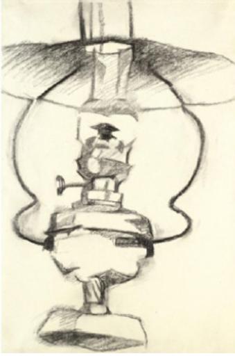 Juan GRIS - Disegno Acquarello - La lampe à pétrole