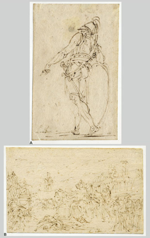 André Jean LEBRUN - Drawing-Watercolor - TWO SHEETS OF SKETCHES