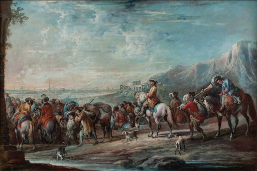 Francesco SIMONINI - Painting - Soldiers in march