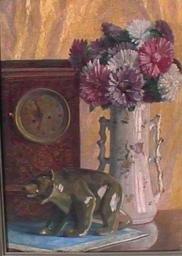 Karl Joseph Richard ZAJICEK - Pintura - Blumenstillleben mit Uhr und Bär, still life