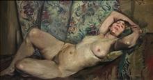 Lovis CORINTH - Pintura - Nu féminin couché