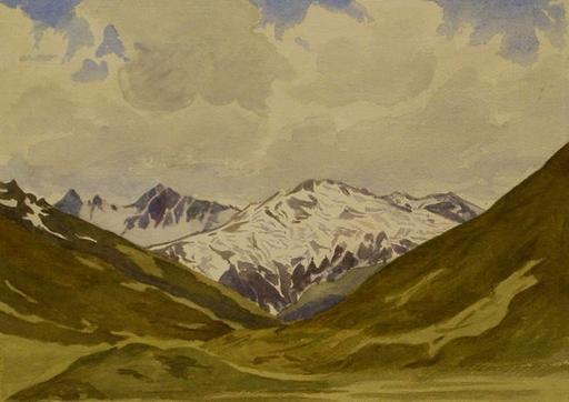 Moritz DELFS - Drawing-Watercolor - Berglandschaft