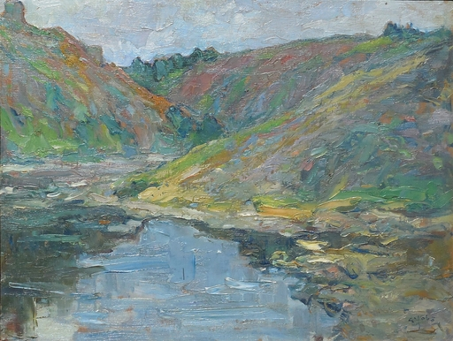 Georges GOBO - Pittura - vallée de la CREUSE à CROZANT