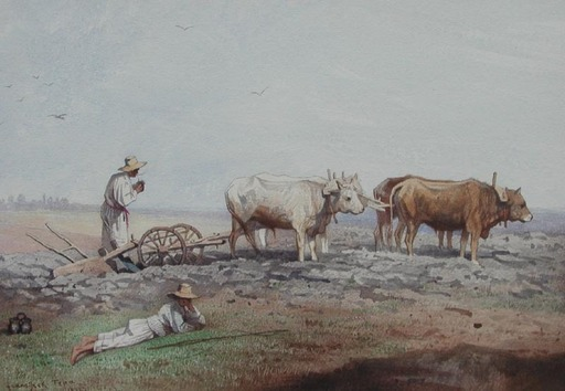 Franciszek TEPA - Drawing-Watercolor - Laboureur/Nodolie