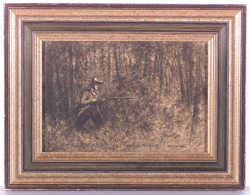 """Théodore FRERE - Dibujo Acuarela - """"Hunter"""", Drawing, middle 19th Century"""