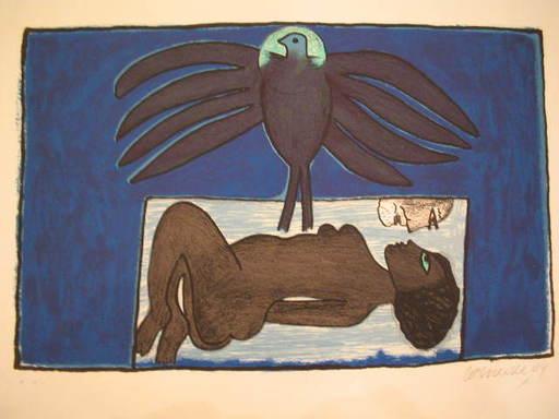 CORNEILLE - Estampe-Multiple - Femme et oiseau fond bleu,2004.