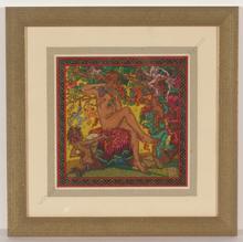 """Alfred WAAGNER - Disegno Acquarello - """"The Faun"""", watercolor, 1910s"""