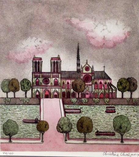 Christine CHAGNOUX - Estampe-Multiple - Notre Dame de Paris Cathedral