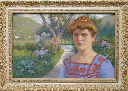 "Maximilian SPILHACZEK - Pittura - ""Artist's Wife"" by Max Spilhaczek, 1907"