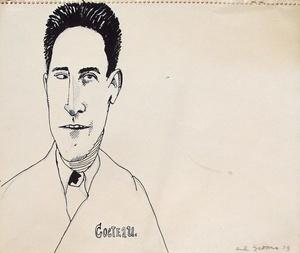 Red GROOMS - Dibujo Acuarela - Portrait de Jean Cocteau