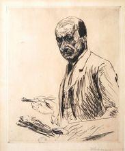 Max LIEBERMANN - Grabado - Self-portrait with a Palette | Selbstbildnis mit der Palette
