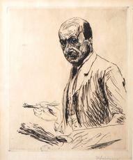马克斯•利伯曼 - 版画 - Self-portrait with a Palette | Selbstbildnis mit der Palette