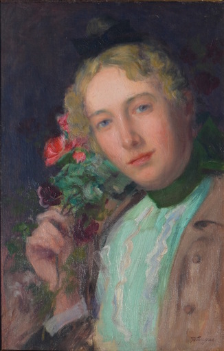 August FRANZEN - Pintura - Portrait with a bouquet