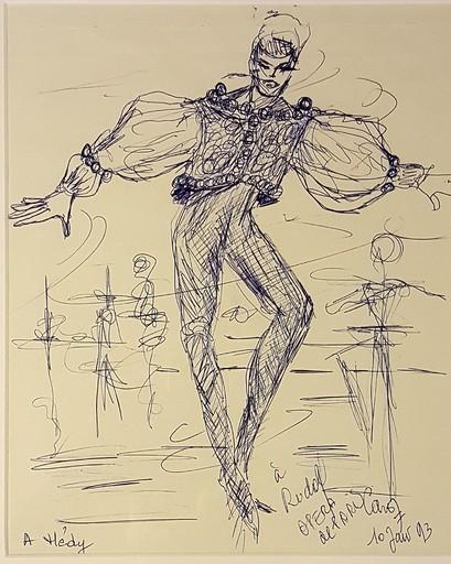 Jean CARZOU - Dibujo Acuarela - RUDOLF NOUREIEV