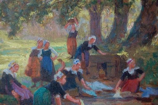 Théophile Louis DEYROLLE - Pintura - les lavandières bretonnes