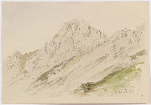 """Anton Paul HEILMANN - Zeichnung Aquarell - """"Two Alpine Views"""", 1895"""