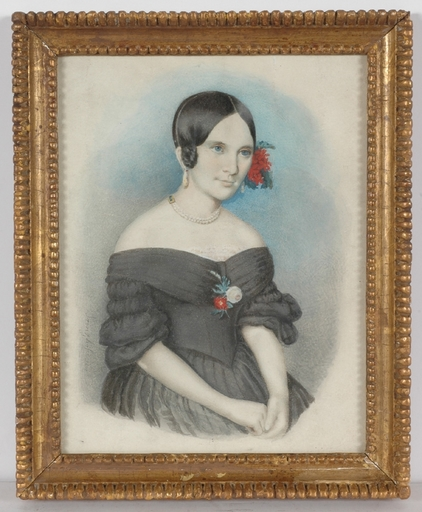 "August PRINZHOFER - Miniatura - ""Portrait of a Young Lady"", 1848, Watercolor"