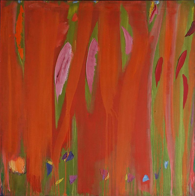 Olivier DEBRÉ - Pintura - Rouge coulé, taches roses et rouges