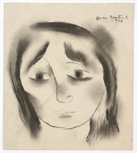 "Boris DEUTSCH - Dessin-Aquarelle - ""Head of a girl"", smoke-black drawing"