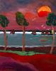 Jean DUQUOC - Painting - Un Souffle de Vent Entraine les Bateaux au Port