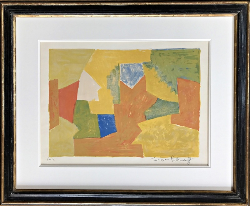 Serge POLIAKOFF - Print-Multiple - Composition jaune, orange et verte