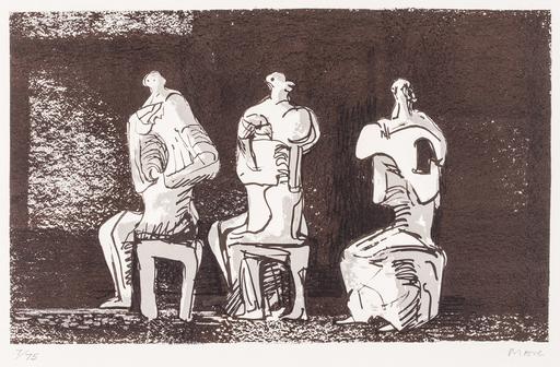 亨利•摩尔 - 版画 - Three seated figures in setting