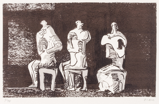 Henry MOORE - Stampa Multiplo - Three seated figures in setting